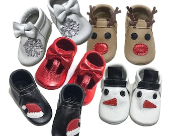 Chistmas santa rudolph snowman snowflake baby shoes