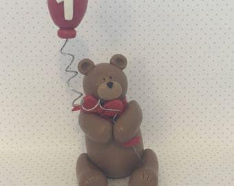 Teddy Bear with Balloon Cake Topper, Bear Baby Shower Cake Topper, Centerpiece