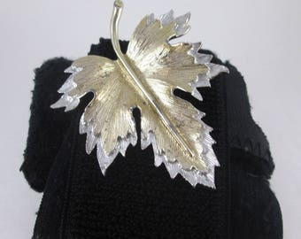 Vintage Sarah Coventry Leaf Brooch Pin Gold and Silver Tone Signed Sara Cov