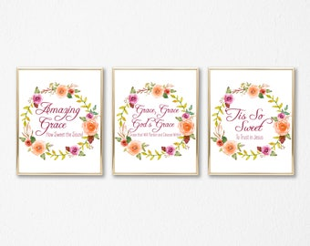 Amazing Grace Print Set - Hymn Art Printable - God's Grace - Christian Watercolor Wall Art - Religious Decor - Gift for Mom - Under 10