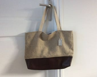Faux chocolate leather and canvas bag