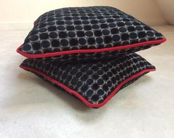 Black and midnight Blue Velvet cushion
