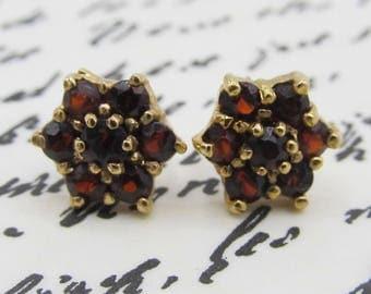 Antique Victorian Revival Garnet Flower Cluster Gold Earrings Gold Filled