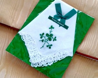 48-HR SALE Vintage IRISH Hankie - 3-Leaf Clover - From Ireland - Emerald Green & White - St. Patrick's Day - Never Used
