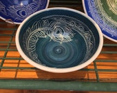 """6"""" Teal Peacock Feather Carved Porcelain Bowl"""