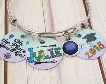 Custom Graduation Stainless Bangle Bracelet-Oh, The Places You'll Go ! with Name-Pearl Color Charm and Graduation Year Disc   2018 Graduate