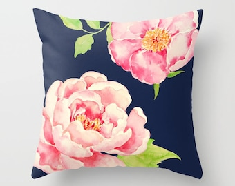 Two Pink Peonies on Navy Blue Throw Pillow