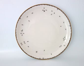 """wall plate """"Chitins Gloss"""" vintage porcelain handpainted with ants"""