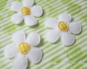 SET of 5 flowers white yellow gingham 25 embellishment applique 135 mm