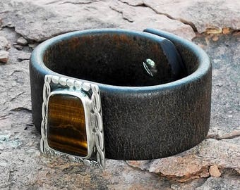 Leather Cuff Bracelet with Tiger Eye - Old Pawn Tiger Eye - Harness Leather - Brown Stone - Tiger Eye Bracelet - Roca Jewelry Designs