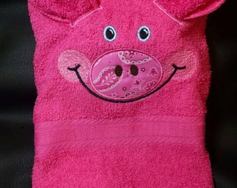 3 dimensional pig hand towel and wash cloth
