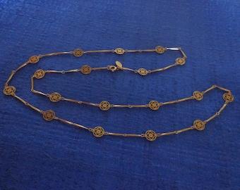 "Vintage Avon Flowerlace Necklace,Avon 70""s Necklace, Avon Gold Necklace,Vintage Avon Jewelry,Avon Filigree Necklace"