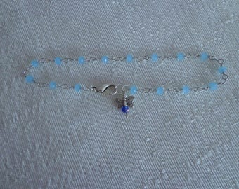 Sapphire Butterfly Anklet,Silver Anklet Bracelet,Blue Anklet,Blue Beaded Anklet,Butterfly Jewelry