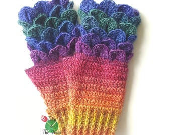 Rainbow gloves, fingerless mitts, ladies dragon scale gloves, crochet gloves, crocodile stitch mitts, ladies gloves - IN STOCK