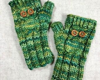 "Fingerless Gloves ""Owl"" for toddlers, green, mittens, wool merino handpainted"