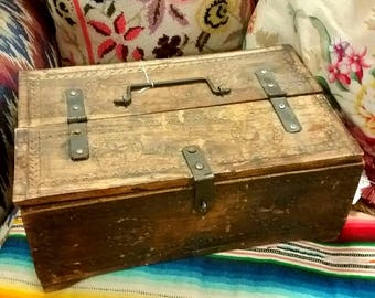 Vintage 40s Hand Carved Wooden Box w Top Hinge Southwest Rustic Folk Art Adobe Home Ranch Western Home Storage Decor