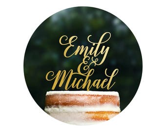 Modern Wedding Cake Toppers with First Names, Unique Personalized Handwritten Toppers, Elegant Custom Script Wedding Cake Toppers - (T305)