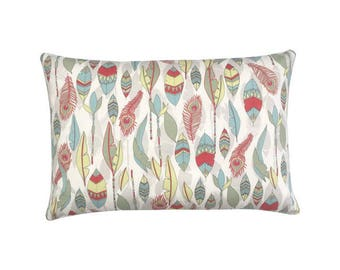 Pillowcase CHEYENNE Federprint natural red olive yellow 40 x 60 cm