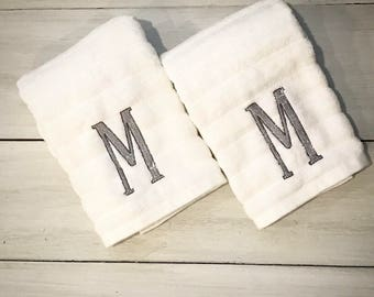 Monogrammed Hand Towels - Set of 2