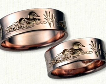 Custom Mallard Ducks Wedding Band - Reverse Etch- 7 mm - Sterling Silver Version