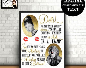 Customizable Audrey Marilyn party sign, 1950s hollywood party, Marilyn Monroe, Great Gatsby signs, rat pack, old hollywood style. 8x10