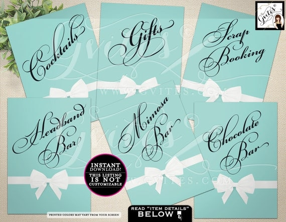 Breakfast at Tiffany's  Party PRINTABLE Signs, Cocktails sign, gifts sign,headband bar, mimosa bar, chocolate bar. 5x7 {Set of 6}