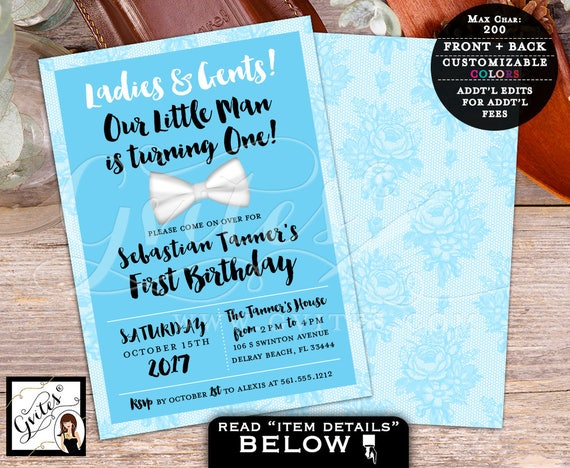 Little Man Birthday Invitation, baby blue black and white, first birthday baby BOY, bow tie baby invitations, double sided 5x7, PRINTABLE.