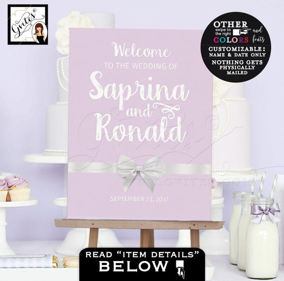Welcome wedding signs, customizable poster welcome to our wedding, lilac, pink, purple, turquoise blue, coral and white, Personalized signs