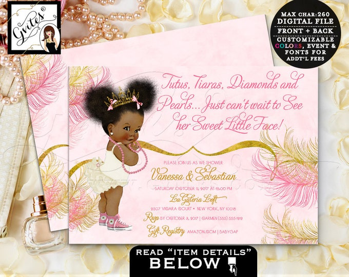 Pink and Gold baby shower invitations, Princess Tiara African American, Watercolor tutus, diamonds pearls, digital file, 7x5 double sided.