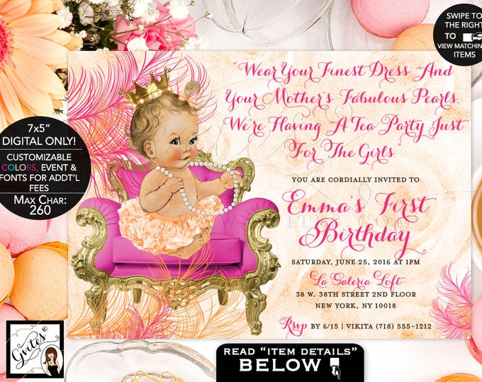 Pink and Orange First Birthday Invitation, pearls vintage princess baby girl invitations tea party 1st birthday 7x5, Digital DIY