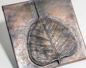 Bodhi Leaf Chasing and Repousse in Copper, Bodhi Leaf, Bodhi Tree, Buddhism