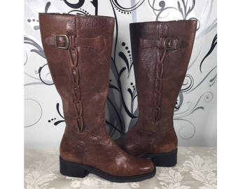 Women's brown boots, Women's leather boots, Women's size 6m shoes, Knee high boots, Women's tall boots, Women's riding boots