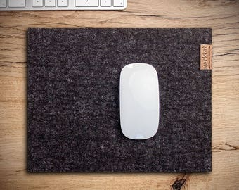 felt mousepad mouse pad mat mousemat 5 mm thick wool, anthracite mixed Gift for colleagues friends pc work station workstation desktop