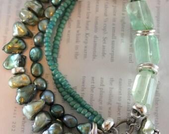 fluorite bracelet, amazonite bracelet, green bracelet, pearl bracelet, bohemian bracelet, boho chic bracelet, valentines for her