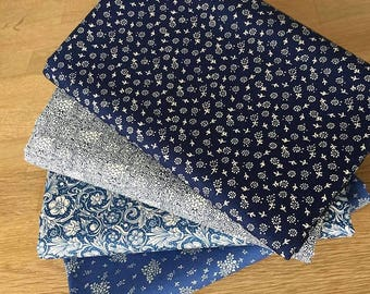 Floral Variety Fat Quarter Bundle in blue 100% cotton fabric flowers