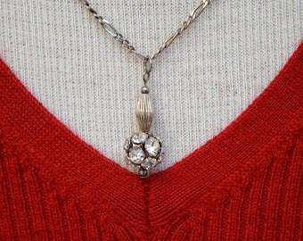 Rhinestone Ball Pendant on Italian Sterling Figaro Chain Vintage