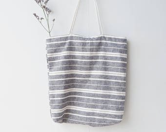 Handmade Linen Bag - Linen Stripe Bags - Natural linen bag - Zero waste bag - Cross body bag - Grocery tote - Vegan bag - Market tote bag