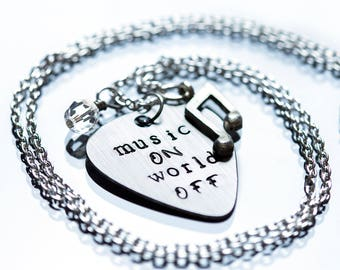 Music On World Off Guitar Pick Necklace, Music Necklace, Musician Gift, Music Lover, Band, Music Jewelry