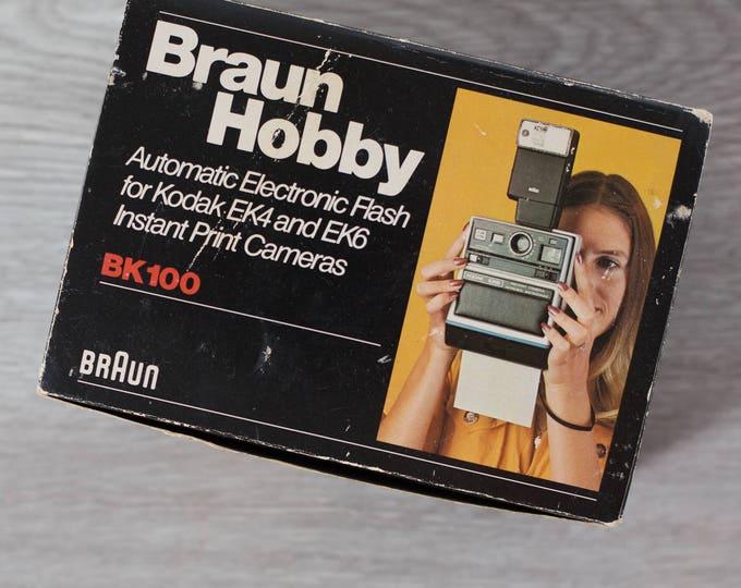 Vintage Braun Hobby Flash / BK100 Automatic Electronic Flash for Kodak EK4 Instant Print Cameras