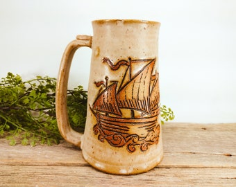 Ship Stein 28 oz - Shark Week - Nautical Decorating - Statement Mug - College Student Gift - Large Mug for Coffee -  Mesiree Ceramics
