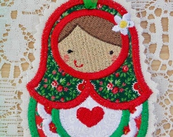 Christmas~Holiday~Gift~Decor~Ornament Traditional Russian Style Mamushka~Babushka Doll Applique in Red, Green & White Machine Embroidered