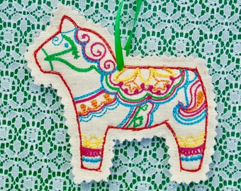 Colorful Swedish Dala Horse Style Christmas ~ Holiday ~ Gift ~ Decoration ~ Ornament Machine Embroidered on Reclaimed Oatmeal Linen