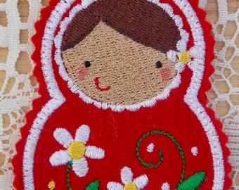 Christmas~Holiday~Gift~Decor~Ornament Traditional Russian Style Mamushka~ Matryoshka~Babushka Doll in Red, White & Green Machine Embroidered