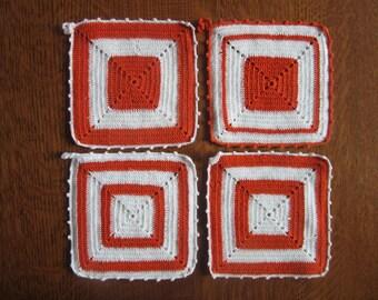 4+1 Vintage Pot Holders,Orange,White,Crochet Granny Squares with Blue Party Crasher.Retro Orange Kitchen Decor,Hot Pad,Crocheted Pot Holders