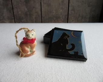 Vintage Cat Lovers Items/Trinkets, Black Cat Box, Orange Cat Ornament,Cat Art,Cat Lovers,Small Black Plastic Cat Box,Christmas Tree Ornament