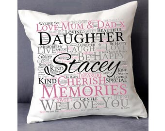 Personalised Daughter Word Art Cushion