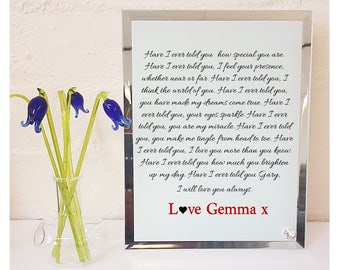 Love Poem Personalised Glass Plaque - Have I Ever Told You.