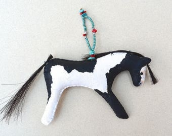 Spirit horse ornament hanging decoration Native American Indian paint pony black & white ranch western cowgirl cowboy Christmas southwestern
