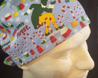 Buddy the Elf Christmas Candy Cane Forest Tie Back Surgical Scrub Hat