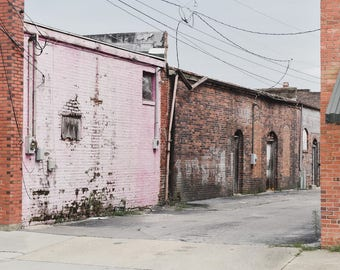 Historic Rustic Dilapidated Downtown - North Carolina Abandoed Architecture Pastel Photography Print